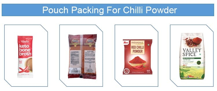 pouch packing for red chilli powder